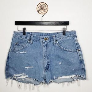 Wrangler cut off distressed denim shorts
